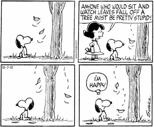 Cartoon of Snoopy not giving a shit what anyone thinks, happiness is just being himself.